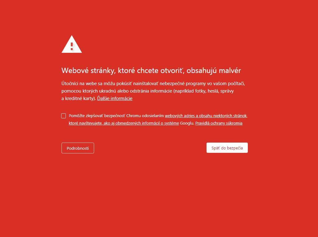 napadnutý web malware